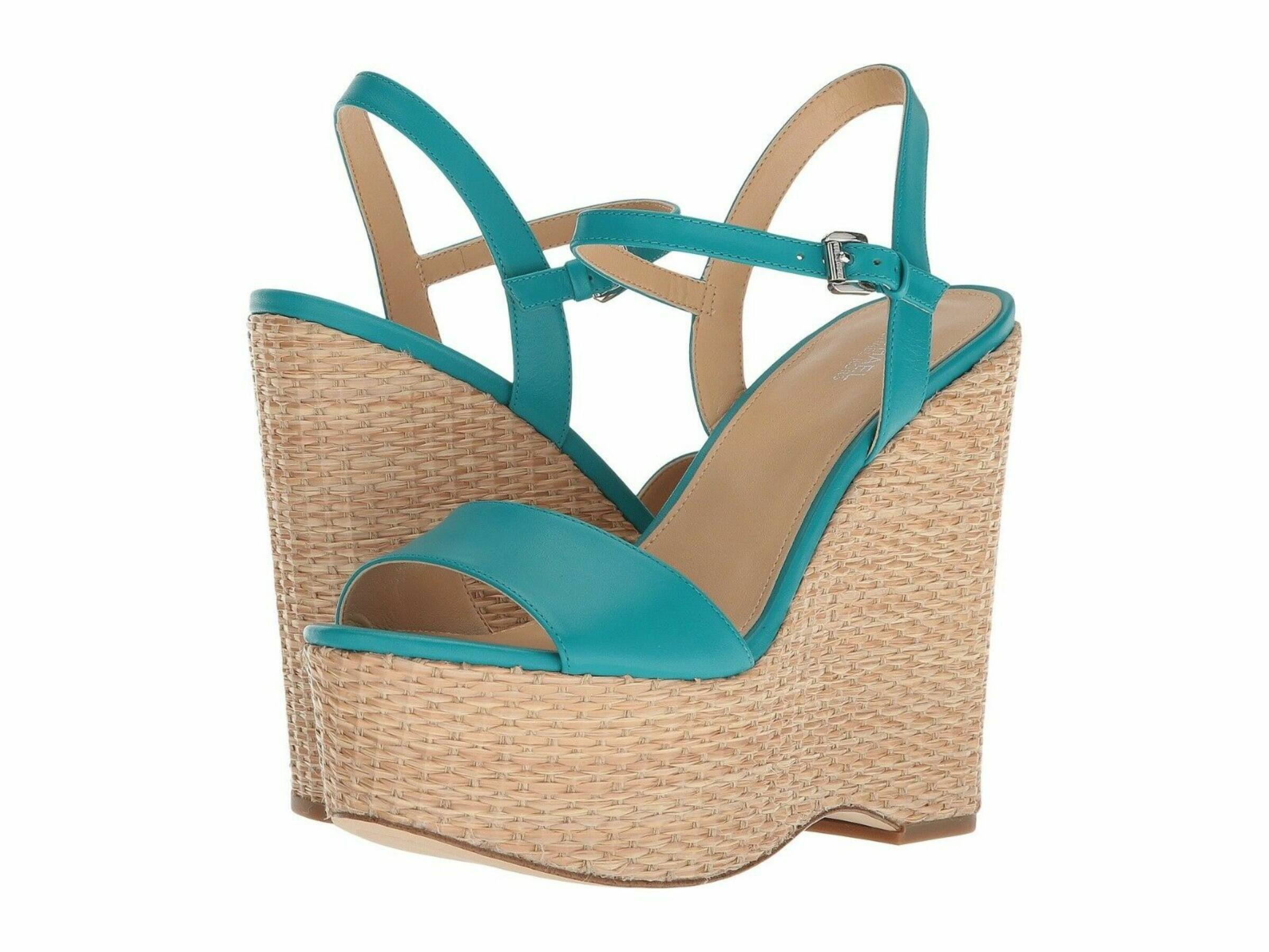 Michael Kors Fisher Tile Blue Leather Wedge (38.5)