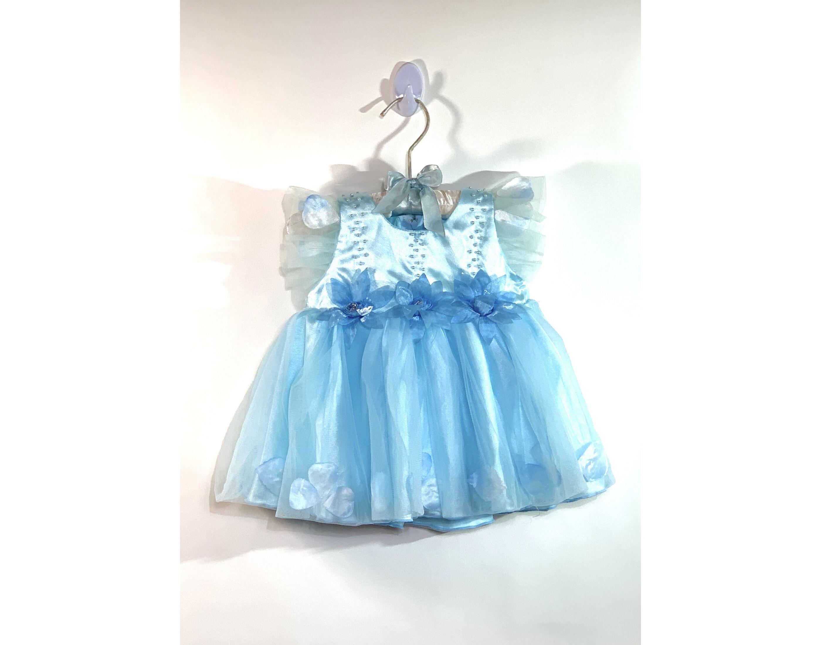 Kék virágos ruha (6-12hó)